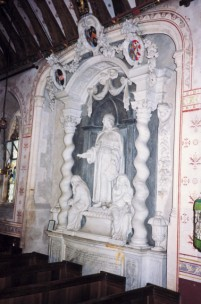 The statue of Sir Hugh Wyndham in Silton church
