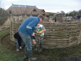 One of the Iron Age-style roundhouses at the Prince of Wales School, Dorchester