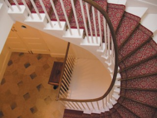 The characteristic original Nash staircase, which would have been seen by few visitors and used mostly by domestic staff.