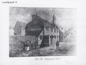 The Grammar School in Wimborne before it was re-built in the mid-18th century