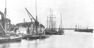 A spritsail barge and steam tug, Clay boats of Poole Quay