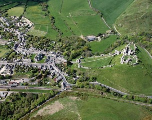 Aerial View Corfe Castle