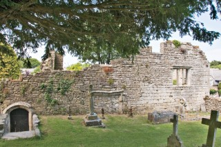 The ruins of the Tudor mansion