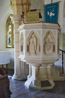 The stone pulpit in St Osmunds Church,Osmington