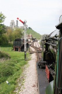 Drivers eye view of Corfe Castle Station