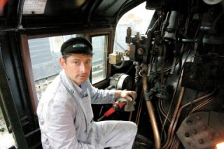 Peter Frost at the controls of the Eddystone Steam Locomotive