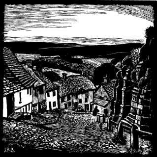 Gold Hill, a woodcut, Shaftesbury