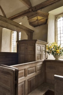Clerk's pew, double-decker pulpit and sounding board , St Andrews Church, Winterborne Tomson