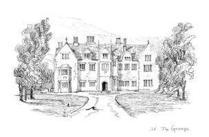 A sepia and pen sketch of 'The Grange' from James Battell Gibbs's 1888-94 sketch book, 'The Isle of Purbeck'