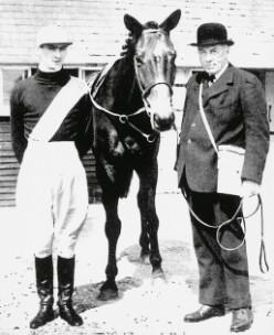 The 2nd Lord Stalbridge with Bogskar and jockey Mervyn Jones