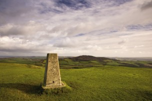 The trig point on top of Pilsdon Pen