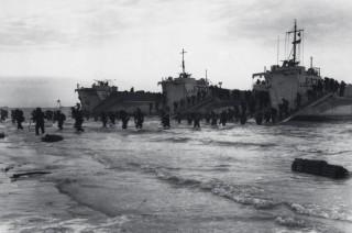 LCIs coming ashore at Slapton Sands