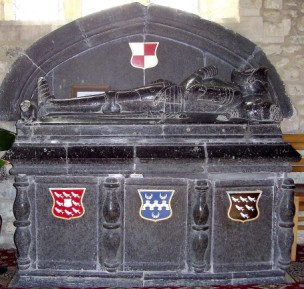 The magnificent black marble tomb in the parish church of St Giles- Chideock.Dorset