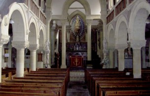 Inside the church of Our Lady of the Martyrs and St Ignatius - Chideock.Dorset