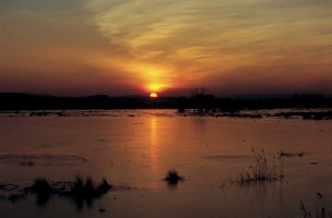 Sunset over frozen floodwaters on the meadows on the south side of Wareham