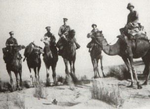 Queens Own Dorset Yoemanry-For desert patrols, members of the Regiment would desert their accustomed horses for camels