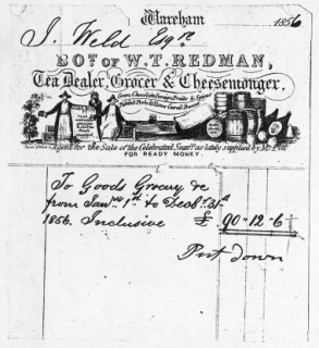A bill for groceries supplied to Lulworth Castle