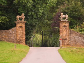The handsome gates at the end of the stretch through the park of Melbury House