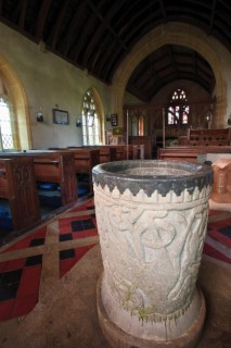 The intriguing and picturesque font in St Mary's, Melbury Bubb