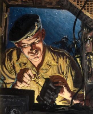 Royal Signals Technician Repairing a Radio, John Godfrey Bernard Worsley, 1959