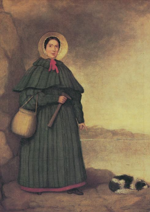 This portrait of Mary Anning with her collecting basket, hammer and dog (called Tray) was painted after her death