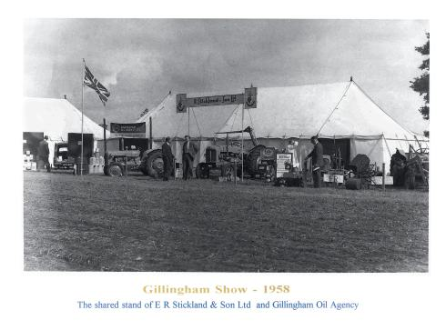 A typical trade stand in the 1950s, including the latest word in tractors