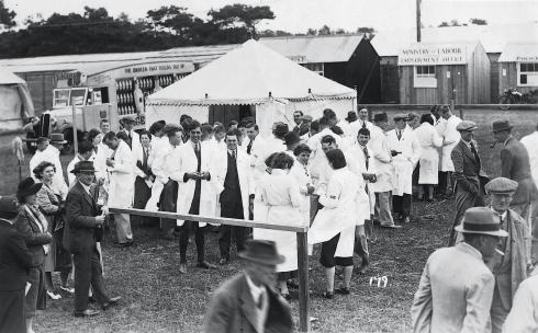 Young farmers about to start stock judging in about 1960
