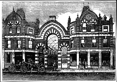 The earliest known picture of Westbourne Arcade, showing it very soon after its opening in 1885