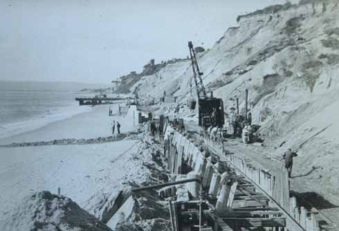 Building the seawall and promenade in the 1930s