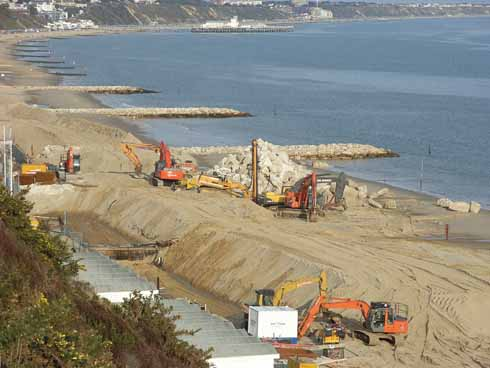 The rock groynes at Branskome Chine nearing completion in 2009