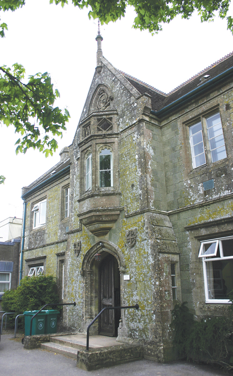 The imposing entrance to the original 1874 building