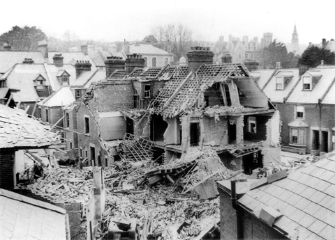 Damage in Cornwall Road caused by the same raid of 20 April 1942 that injured Tony Meates