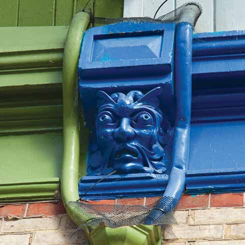 The gargoyles at the heads of the drainpipes are said to represent water gods