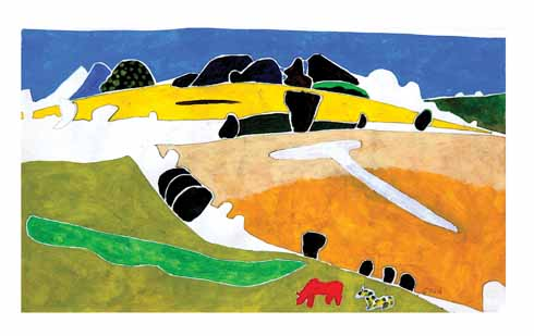 Cranborne Chase II by Tim Nicholson, 1997. The painter is the son of Kit and E Q Nicholson