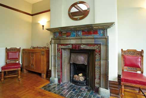 This quintessentially Arts and Crafts fireplace by Walter Crane is perhaps the jewel of the house