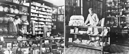 Inside Parsons on Cornhill a little later in the 1930s. The shop divided into two – the hairdressing side offered cosmetics and perfume for Christmas presents, and the more masculine side cigars, pipes and tobacco.