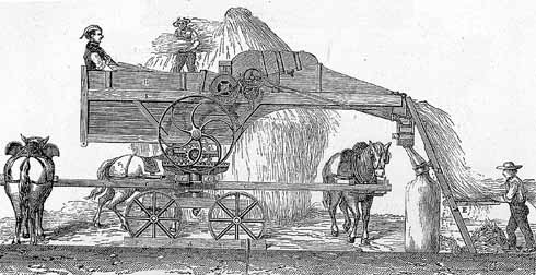 A threshing machine of the type that inspired the Captain Swing riots