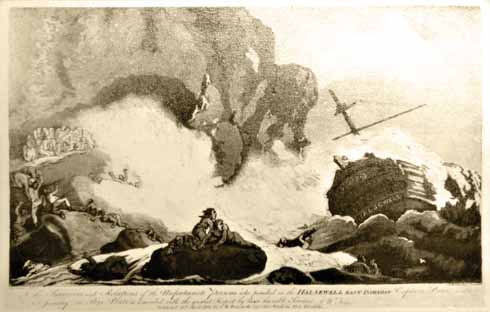 A contemporary print of Halsewell on the rocks