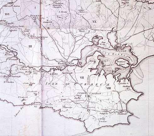 This 1773 map shows the Isle of Purbeck in better detail and some indication of the perilous shallows in Poole harbour