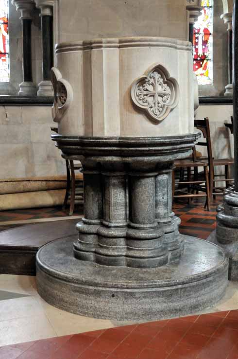 The font inside the church is made from a combination of Purbeck stone and Purbeck marble, as are the columns that support the church itself
