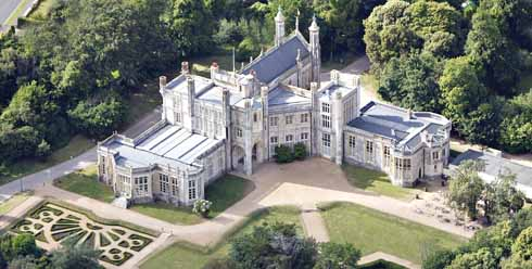 Highcliffe Castle from the south-east. The oriel window above the south porch was salvaged from the ruins of a French manor house.
