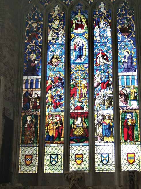 The Jesse Tree window in the Great Hall, reinstated in 1999