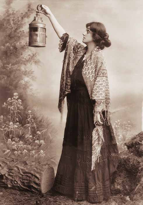 Norrie Woodhall's elder sister, Gertrude Bugler, in a still photograph celebrating a performance by the original Hardy Players.