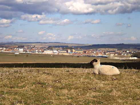 Poundbury as seen from Maiden Castle