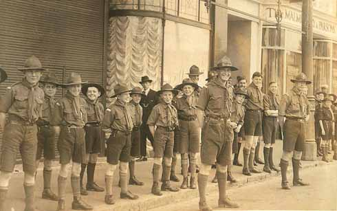 The Scout troop stands to attention on St George's Day in 1928