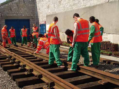 One of Portland YOI's successes is its course in railway track maintenance