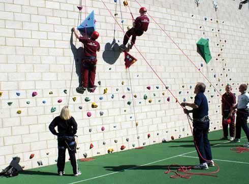 The climbing wall is not an outside wall!