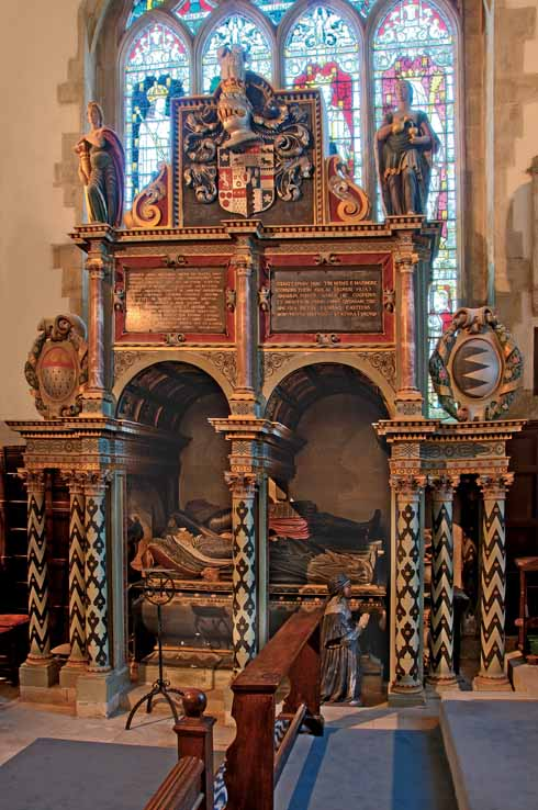 Effigies of Sir Anthony Ashley and his wife rest serenely in their rather gaudy, but nonetheless magnificent, monument. Their daughter kneels nearby in eternal vigil.