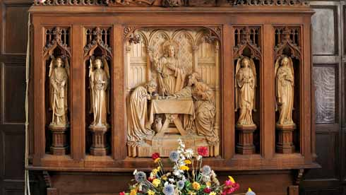 Within the porch is a Victorian reredos, originally from the Mission church at Monkton Up Wimborne