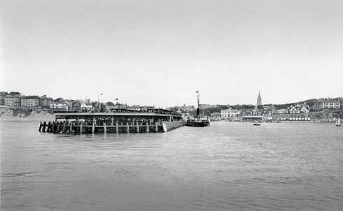 Bournemouth pier as viewed from the sea at the turn of the 20th century